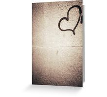 Love heart painted on urban city wall silver gelatin black and white 35mm negative analog film photograph Greeting Card
