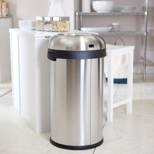 simplehuman cw1407 bullet open can 60l brushed modern kitchen trash cans