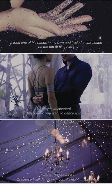 "movie meme: a court of mist and fury >> scene: starfall 2/2 I blinked away the burning in my eyes. ""Come on,"" I said, tugging on his hand. ""Let's go join the dance."""