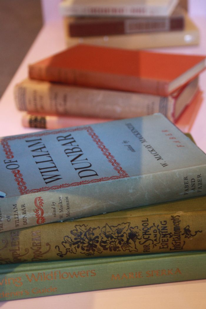 Decorating the shop with vintage poetry books