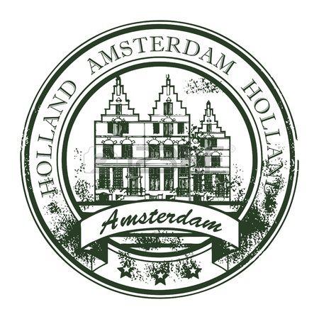 Pieczątka Grunge ze starymi domami i słowo Amsterdam, Holandia wewnątrz photo
