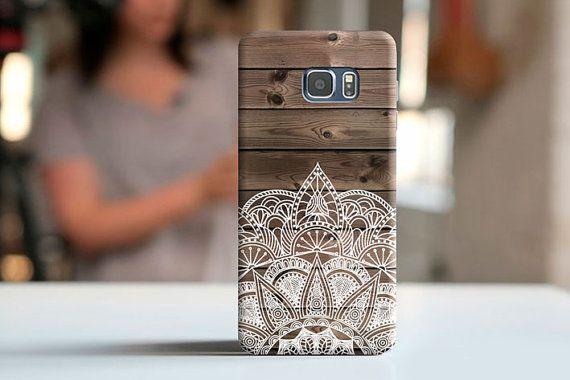 Coque bois mandala étui Samsung S7 s6 avec la coque par momscase