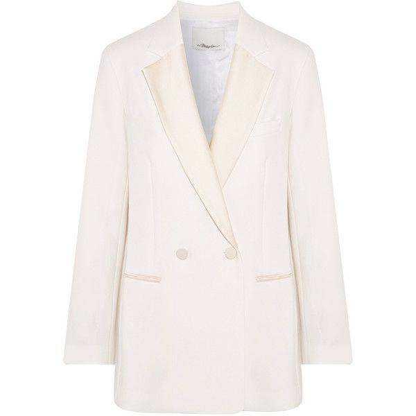 3.1 Phillip Lim Double-breasted satin-trimmed crepe blazer (22.613.015 VND) ❤ liked on Polyvore featuring outerwear, jackets, blazers, ivory, white tux jacket, white jacket, tuxedo jacket, tuxedo blazer and tux jacket