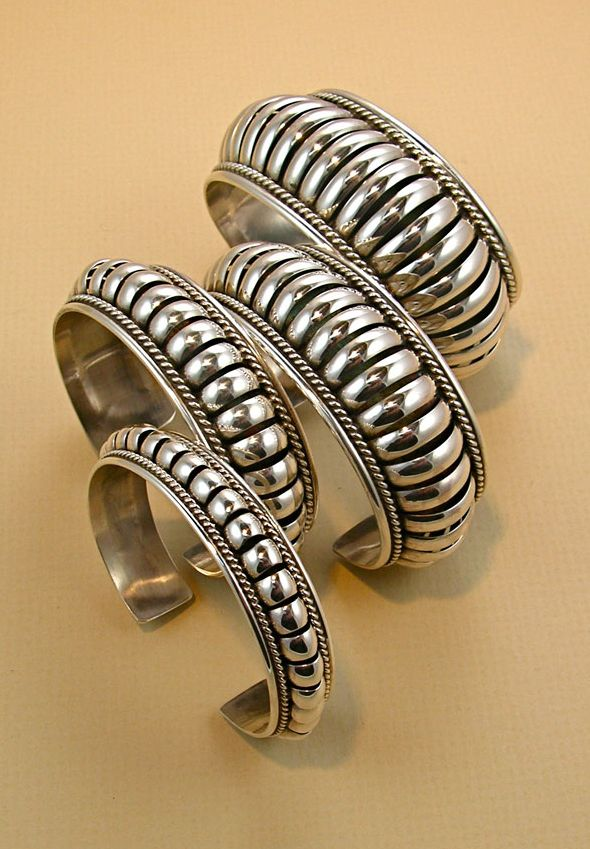 Hand hammered silver bracelets by Pauline Apachito, Navajo, circa 2012
