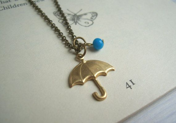 Rainy Day umberella charm necklace - gold brolly and blue glass rain drop - handmade