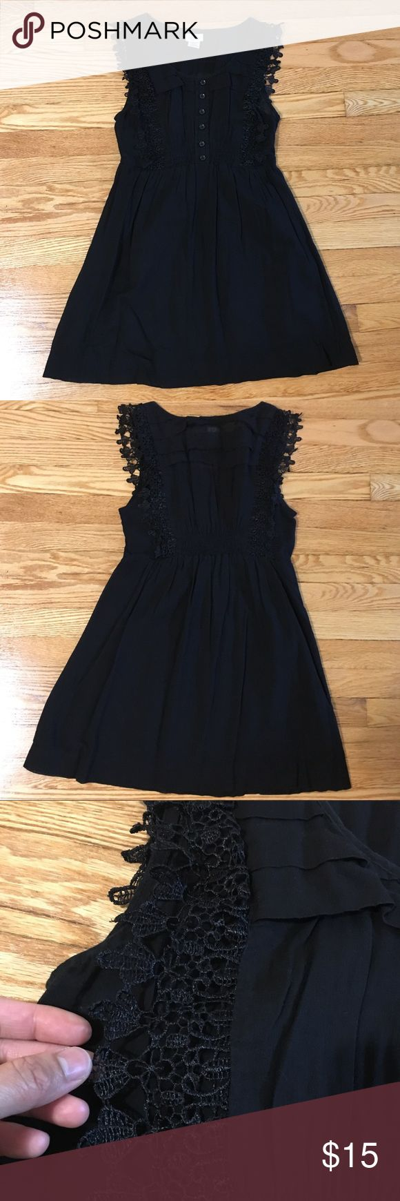 S Line Black Sundress S Line Black Sundress with lace detailing - excellent condition. Super comfy and lightweight with lined skirt. 100% cotton. Perfect for the beach as a coverup or a casual night out! S Line Dresses