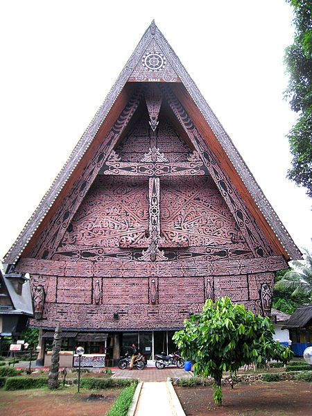Rumah Adat Batak- or Batak traditional -tyle abode. Batak are the main ethnic from Sumatra and 2nd most populous Indonesian ethnic group.