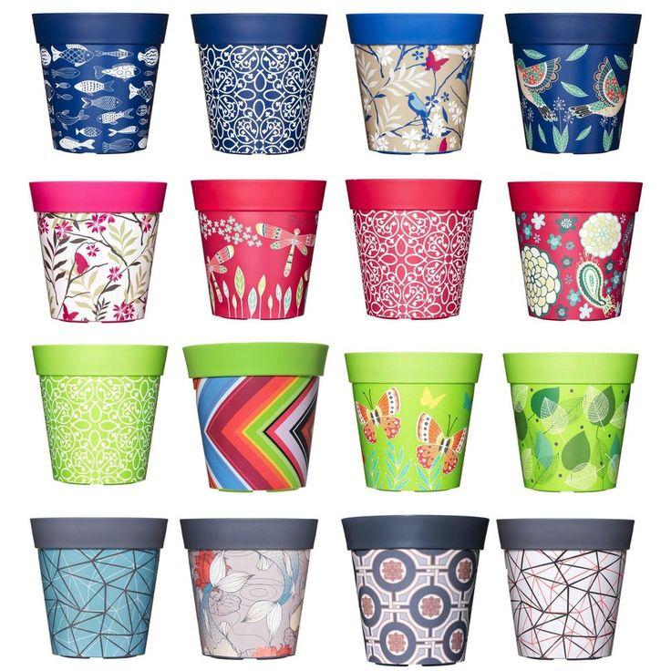 Plastic Flower Pots Garden Planter Plant Pot Bright Coloured 22cm 5ltr by Hum #Hum