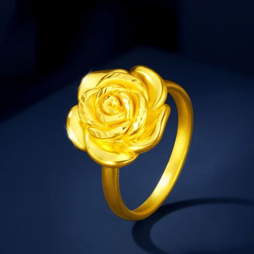 Hot-New-Arrival-Pure-999-24K-Yellow-Gold-Band-Women-039-s-3D-Rose-Ring-US-5-7-5