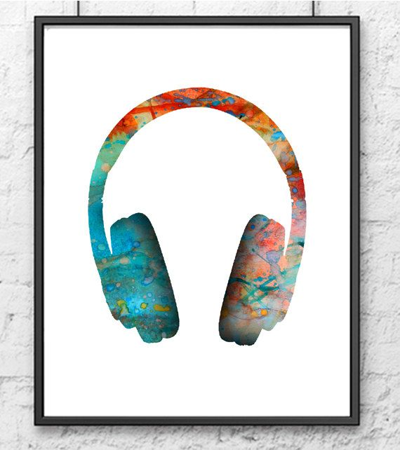 Turquoise orange music headset  watercolor painting by Thenobleowl, $15.00