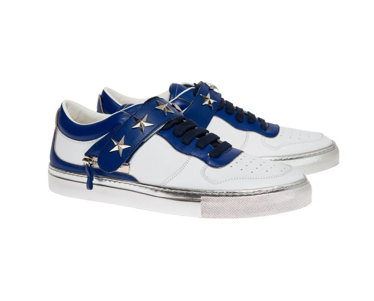 Nelson white/blue with silver chromed sole and  blue strap with stars