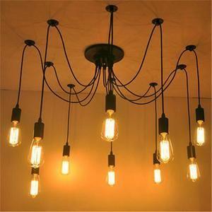FerandHome Rétro Lampe De Plafond Plafonnier Suspension Lustre Luminaires Élégant Design Industriel Salon 10 Douilles
