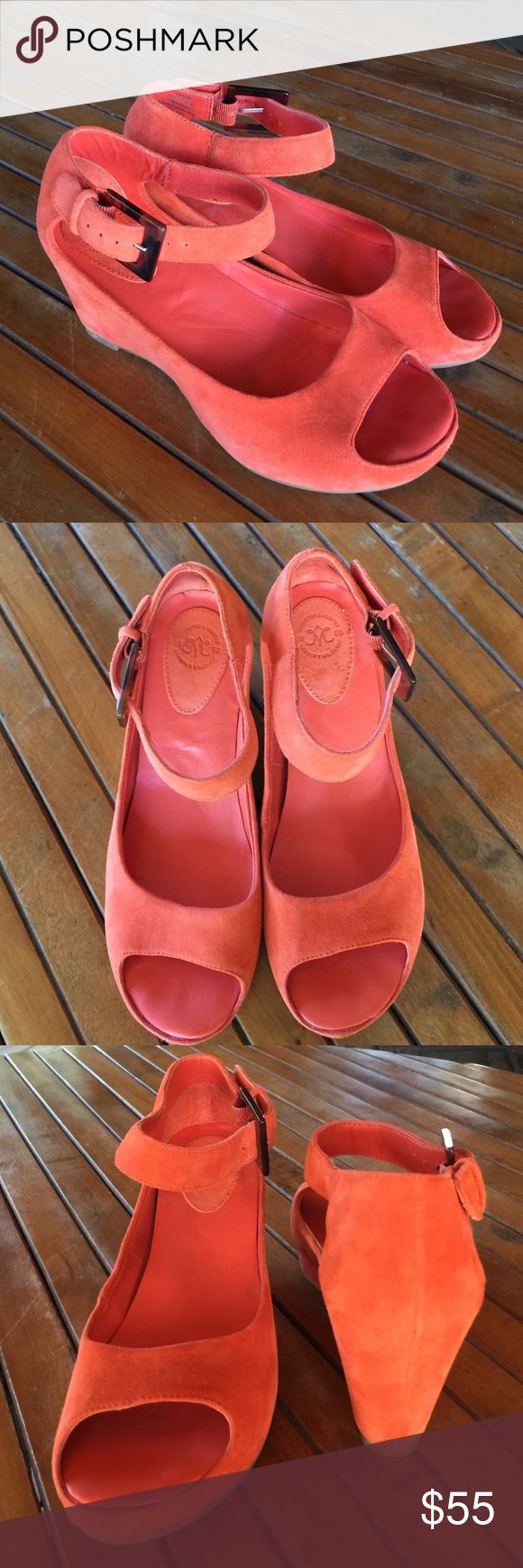 "Johnson and Murphy suede wedge Comfortable footbed, 3"" heel very gently worn. No toe marks clean on all sides. Tortoise buckle. Coral color. Enjoy! Johnson and Murphy Shoes Platforms"
