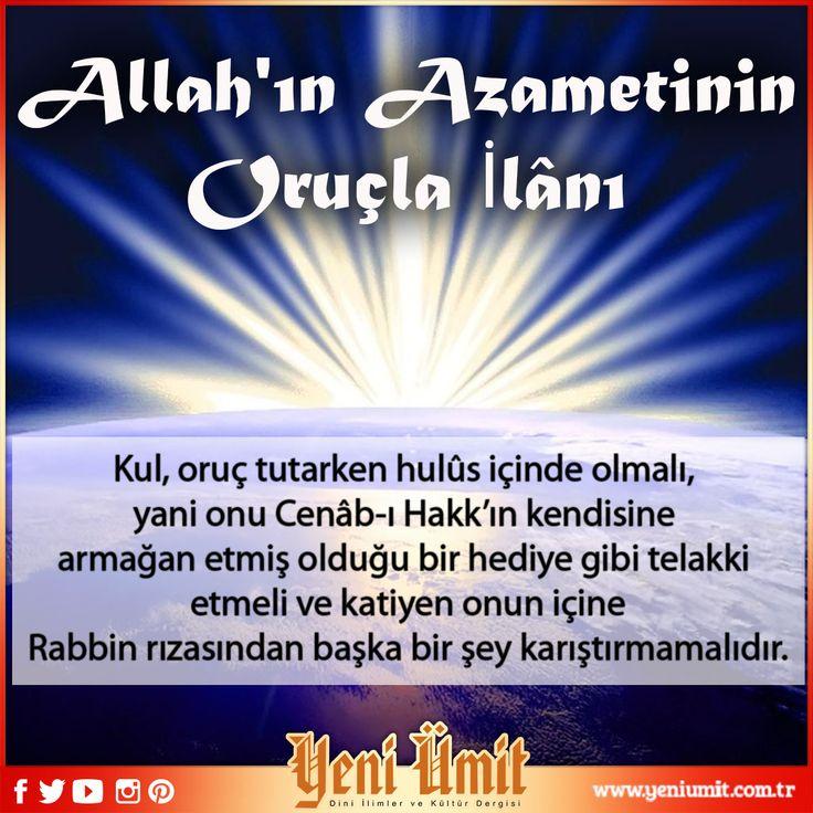 Prof. Dr. Suat YILDIRIM' ın Hocamızın 'Allah'ın Azametinin Oruçla İlânı': http://www.yeniumit.com.tr/konular/detay/allahin-azametinin-orucla-imtihani-109 #yeniümitdergi #yeniümit #dergi #allah #kul #azamet #rab #oruc #oruç #ramazan #ramadan #oruçramazan #amin