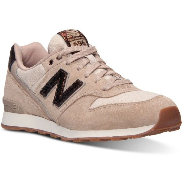 New Balance Women's 696 Capsule Casual Sneakers from Finish Line (115 AUD) ❤ liked on Polyvore featuring shoes, sneakers, sandstone, new balance trainers, vintage style shoes, lined shoes, low shoes and low sneakers
