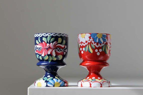 Scandinavian Egg Cups Swedish Eggcups Folk Art by tippleandsnack
