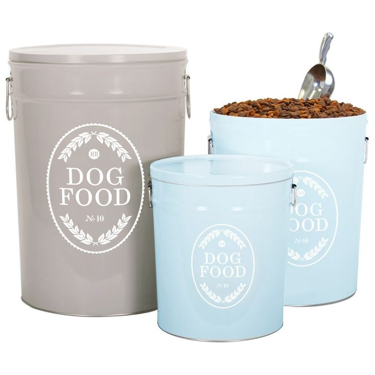 """Combining industrial materials with traditional designs, our Swedish Farmhouse Dog Food Storage Canister is made from recycled steel and has a country-chic style. An airtight lid and double handles add durability and functionality. Aluminum scoop included. Small Dog Food Storage Canister (3.5 gallons) 10.25"""" (top) x 9.125"""" (bottom) x 11.5"""" high, holds 10 lbs. of dry food Medium Dog Food Storage Canister (6.5 gallons), 12.25"""" (top) x 11.5"""" (bottom) x 14"""" high, holds 22 pounds …"""