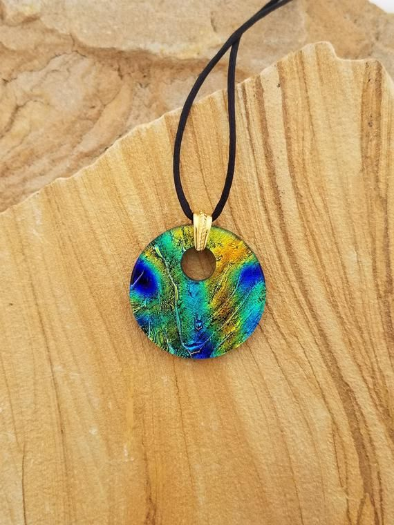 Green /& Yellow Dichroic Fused Glass Pendant Multi Colored Blue