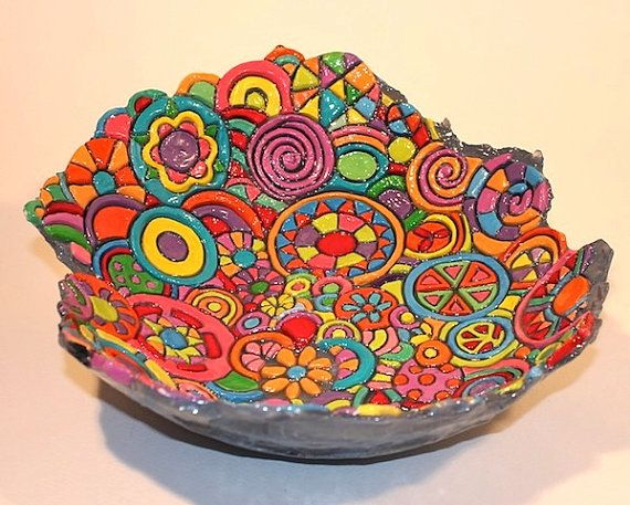 LARGE BOWL:  Hand built, carved, kiln fired, hand painted using acrylic and gouache paints and resin glazed. on Etsy, $180.00 AUD