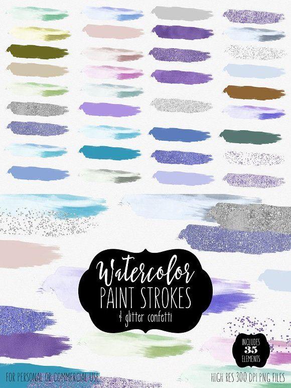 Watercolor Brush Strokes Confetti Watercolor Brushes