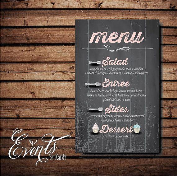 Vintage chalkboard like menu on etsy cad wedding for Vintage sites like etsy