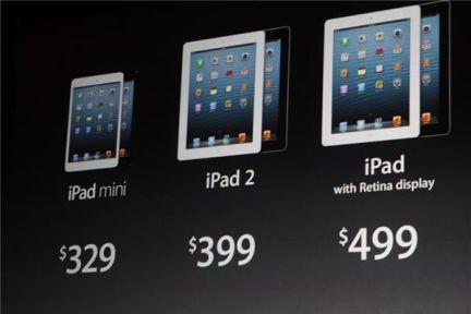 #iPadMini costará desde $329, #iPad2 se podrá adquirir desde $399 y el #iPad con retina display desde $499