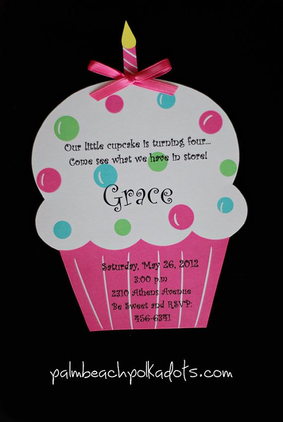 cupcake birthday invitations by palmbeachpolkadots on etsy 2 25