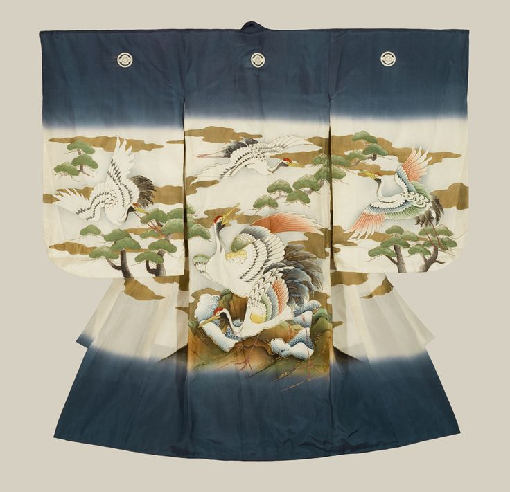 A fine plain silk miyamairi kimono worn during ceremonial anointment at a Shinto shrine, featuring yuzen-dyed and painted highlights. 1950's, Japan. The Kimono Gallery