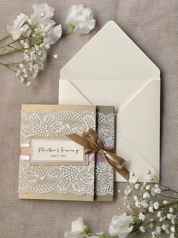 Custom lisitng 200 Beige and Pink Lace Wedding Invitations, Pocket Fold Wedding Invitations , Vintage Wedding invitation