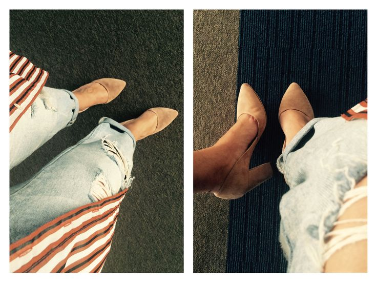 Stripes long  shirt, neutral shoes
