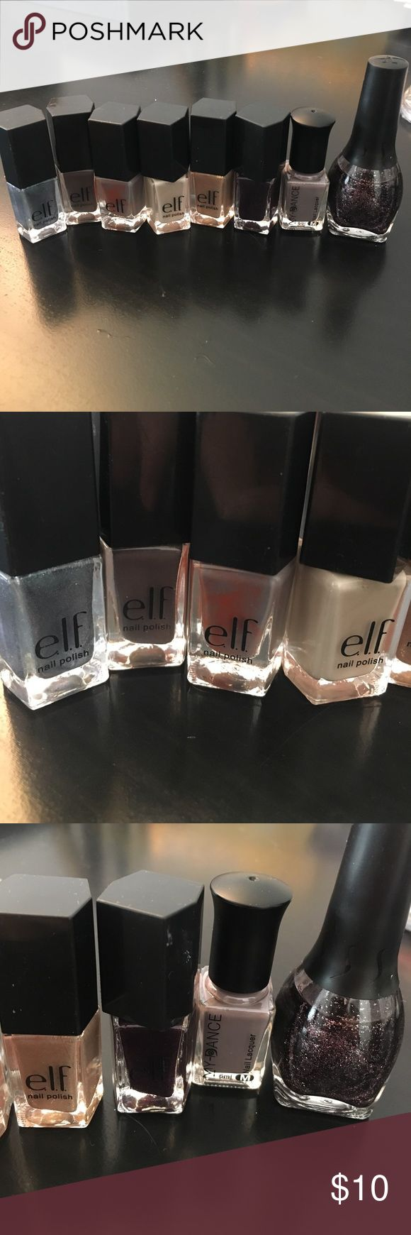 Elf nail polish Only tried on for color! 6 small e.l.f. nail polish and two other ones both new! One of my other nail polishes leaked so got some on a couple of the elf bottles. Price is for all 8. e.l.f. Makeup