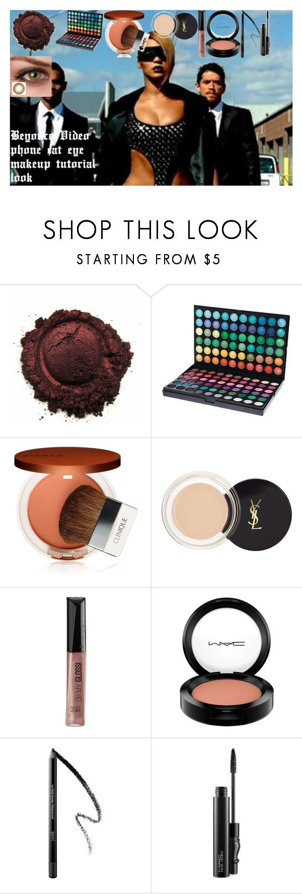 Beyonce Video phone cat eye makeup tutorial look by oroartye-1 on Polyvore featuring beauty, Clinique, Yves Saint Laurent, MAC Cosmetics, Rimmel and Peek