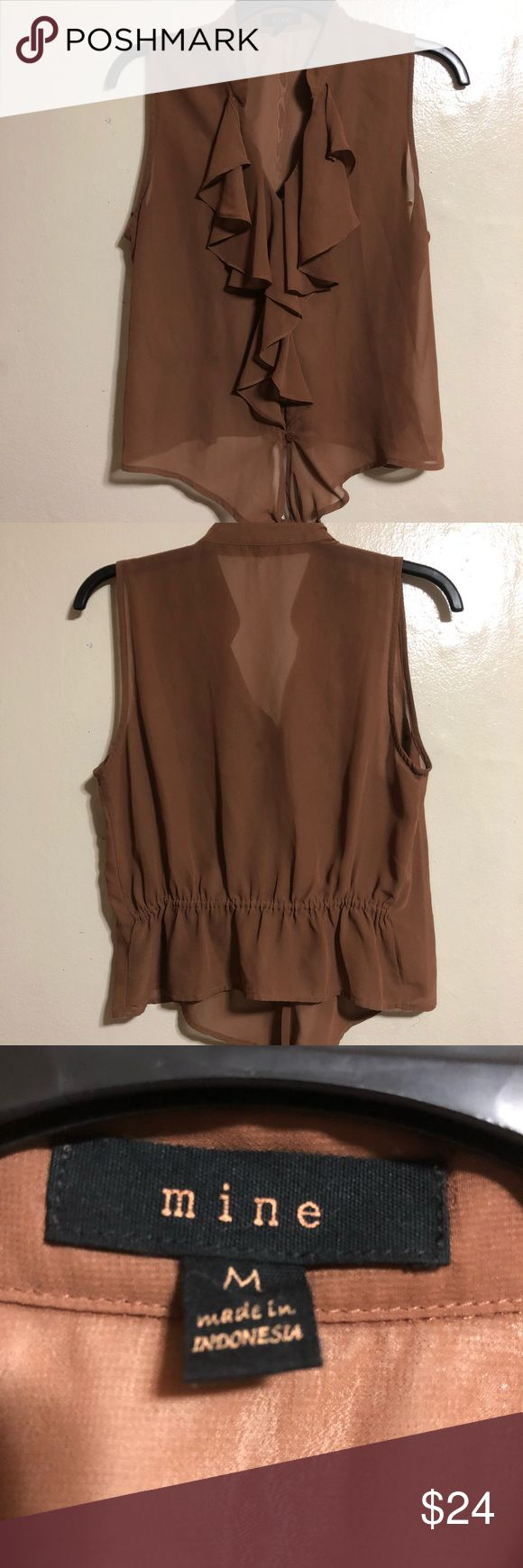 Brown women shirt Color: Brown Size: Medium Bottom strap Ties  Comfortable fit Mine Tops