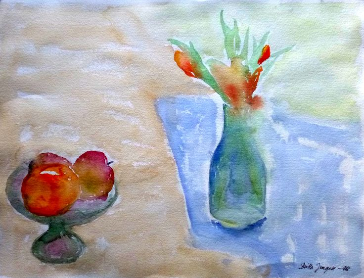 """Still life with apples and flowers"" Original watercolor painting by Britta Bergström-Jungell."