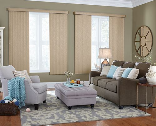 Wide Window Solutions Traditional Vertical Blinds Collection: Dazzle Color Name: Midas Color Number: 3187 Options Shown: Crown Vinyl Vertical Blinds with Cord and Chain Control, Split Stack, and Round Corner Valance