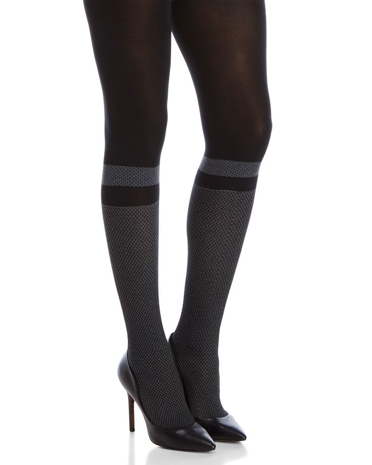 Spanx By Sara Blakely Very Black Faux Sock Shaping Tights