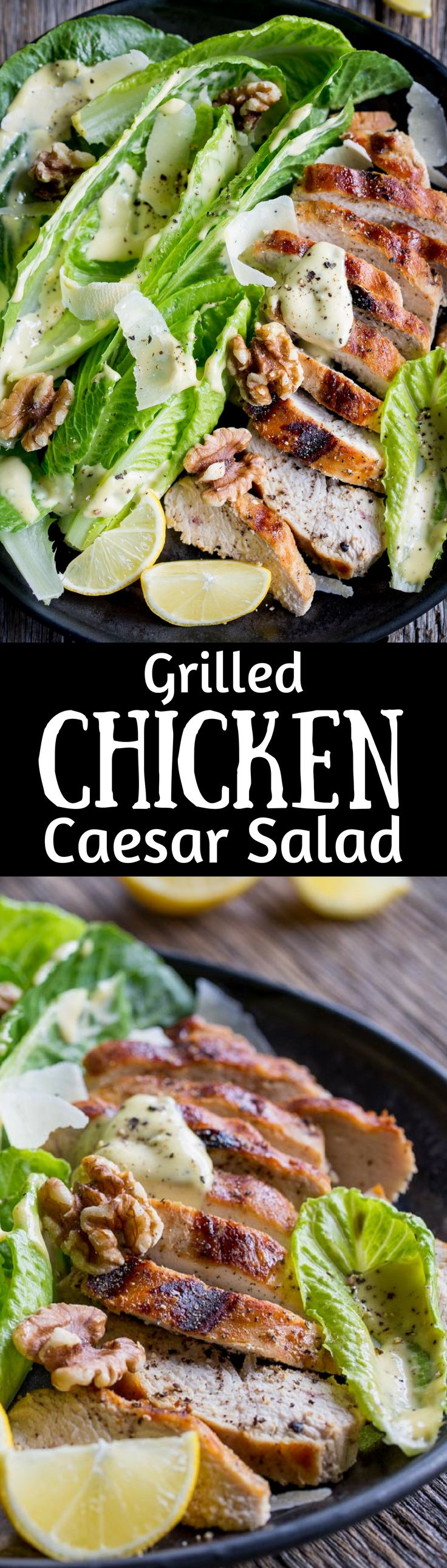 Grilled Chicken Caesar Salad ~ an easy homemade Caesar dressing is drizzled over tender grilled chicken and hearts of romaine lettuce, then topped with shaved Parmesan, plenty of fresh ground black pepper and toasted walnuts. This main dish salad is sure to please your salad loving family! www.savingdessert.com