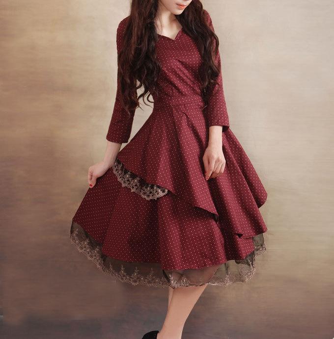 Red dress Linen Cotton dress women