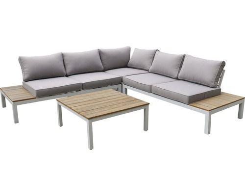 Loungeset Deluxe Holz 4 Sitzer 4 Teilig Weiss Outdoor In