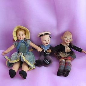 Three Norah Wellings Cloth Dolls - Bella May Dolls #dollshopsunited