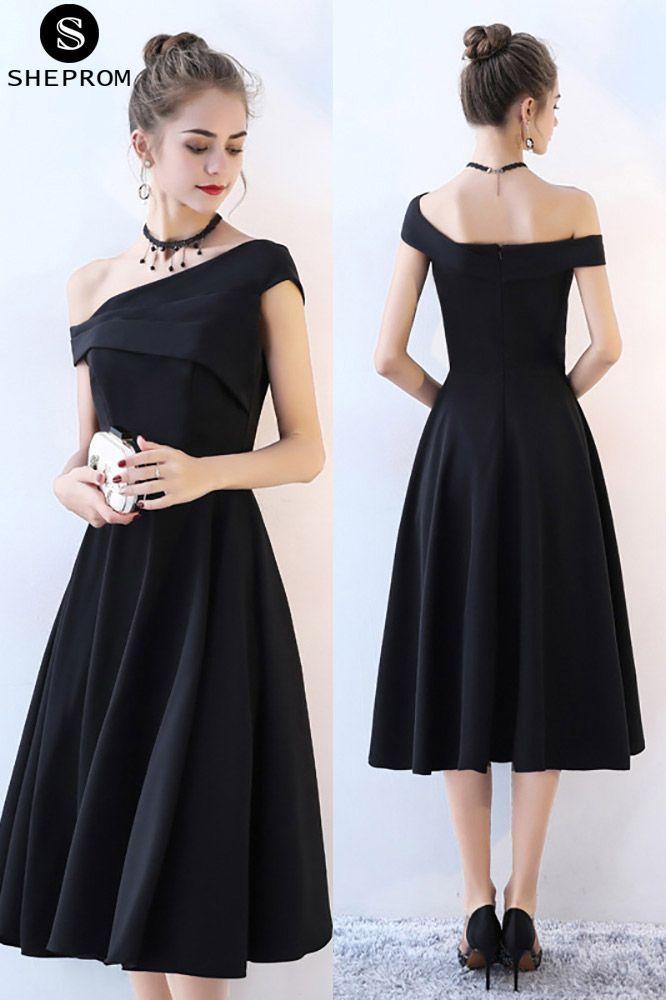 93f990050ab Black One Shoulder Midi Homecoming Dress Tea Length -  69.3 ...