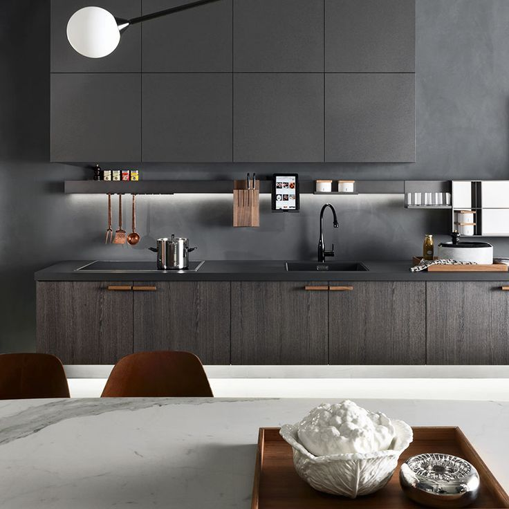 Always searching for fresh ways to push design boundaries, Italian brand Molteni Dada has developed a new type of plaster for the kitchen. A technical render, applied in two layers, it gives the upper cabinets and worktop in this stylish space a soft, textured finish. 'In Dada' kitchen, from £15,000, Molteni Dada (dada-kitchens.com) Photography: Andrea Martiradonna
