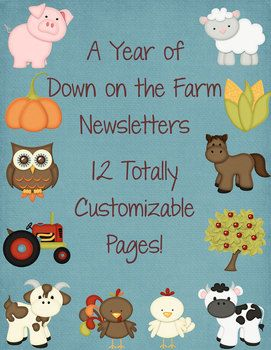 12 down on the farm classroom newsletter templates. $