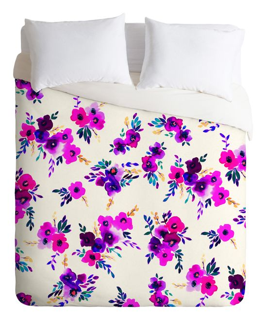 Amy Sia Ava Floral Purple Duvet Cover