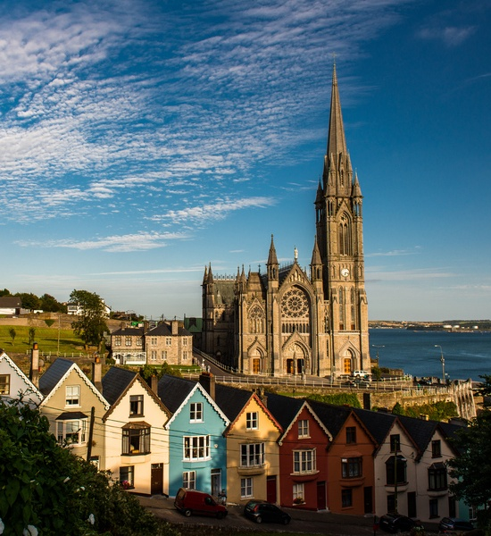 Cobh Cathedral and the 'Deck of Cards Houses', Cobh, Ireland (Cobh, Ireland - the last place the Titanic stopped before it sank)