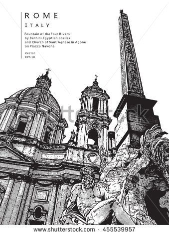 Piazza Navona (Navon Square) in Rome, Italy. Fountain of the Four Rivers (Fontana dei Quattro Fiumi).   Vector illustration. EPS 10. Image reworked after Auto-Trace for easy editing.