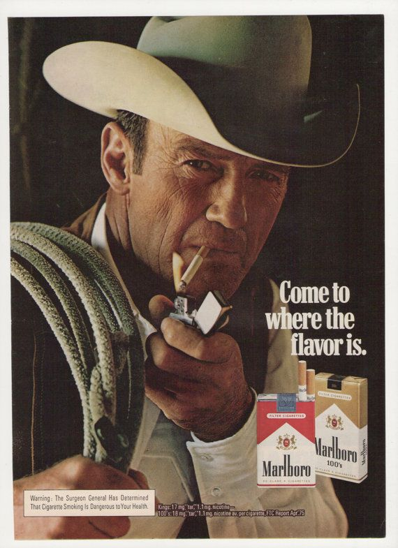 1975 Marlboro Man Cigarettes Advertisement Cowboy Smoking Tobacciana Wall Art Decor on Etsy, $7.00