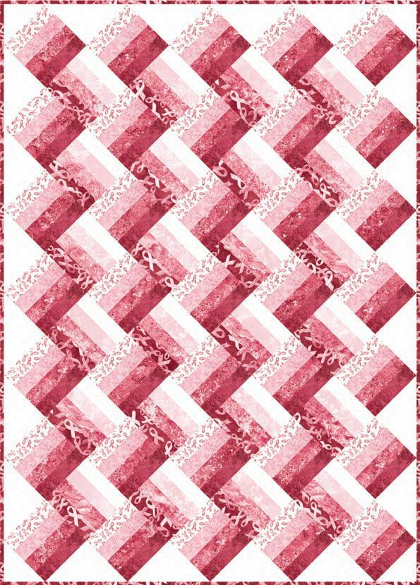 Pink Ribbons - Cotton Quilt Fabric from Stonehenge