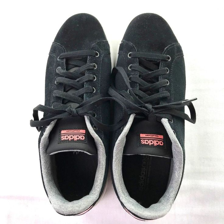 Adidas Cloudfoam Advantage Clean Sneaker Shoes Black Suede Leather Womens 11M #adidas #Casual