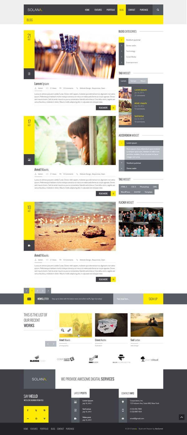 Solana – Multipurpose PSD Template by Zizaza - design ocean, via Behance